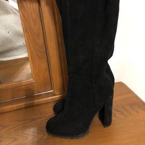ALDO black suede knee high boots; Size 6